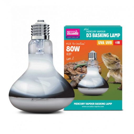 Arcadia UV D3 Mercury Vapour Basking Lamp 80 Watts for tortoises, bearded dragons, lizards and other reptiles that need UV-A and UV-B and heat and light from a single bulb