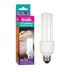 Arcadia D3 Compact Bulb 10% UVB 23 Watt for Desert Species, Bearded Dragons, Uromastyx, Tortoises, Blue Tongue Skinks