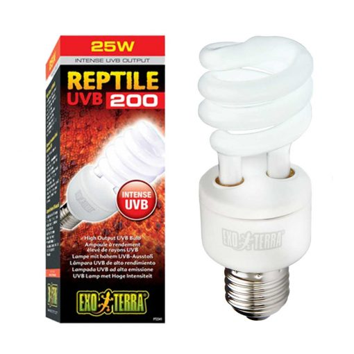 Exo Terra Reptile UVB 200 25 watts Reptile Bulb for desert reptile and species requiring very high UV