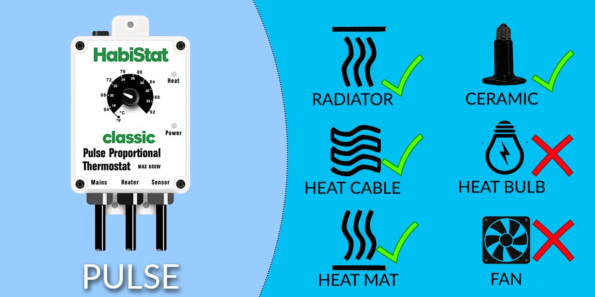 Habistat Pulse Proportional Thermostat Reptile Thermostat Black and White 600 Watts Standard and High Range