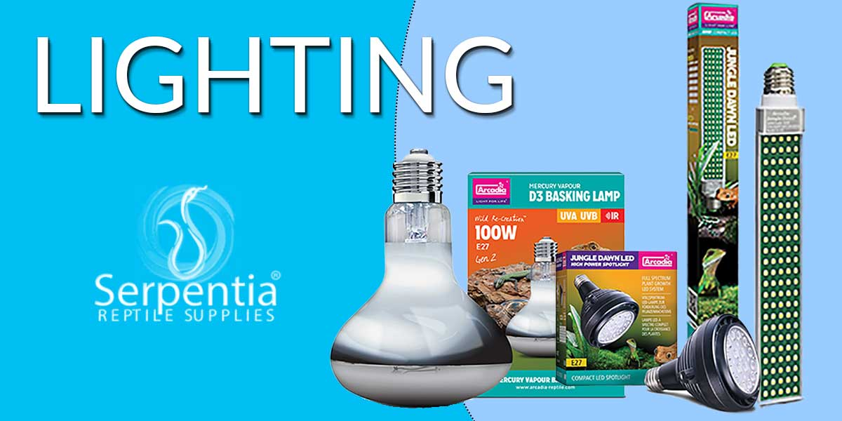 Reptile Lighting equipment and bulbs, Exo Terra UV, Arcadia Jungle Dawn LED Lights and Jungle Dawn LED Bars, Arcadia Mercury Vapour Basking Lamps, Reptile UVA, Reptile UVB, D3 Basking Lamp Infrared IR Reptile Lighting, Acradia Pro T5 Desert 12% UV, Pro T5 Dragon 14% UV, Pro T5 Forest 7% UV Kits and replacement UVB tubes