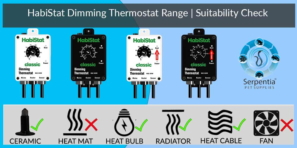Habistat Dimming Thermostat   Reptile Thermostats   Black and White   Standard and High Range