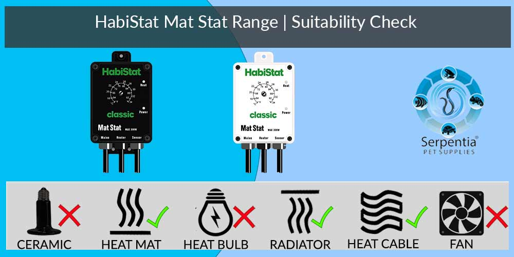 Habistat Mat Stat Thermostat | Reptile Thermostats | Black and White