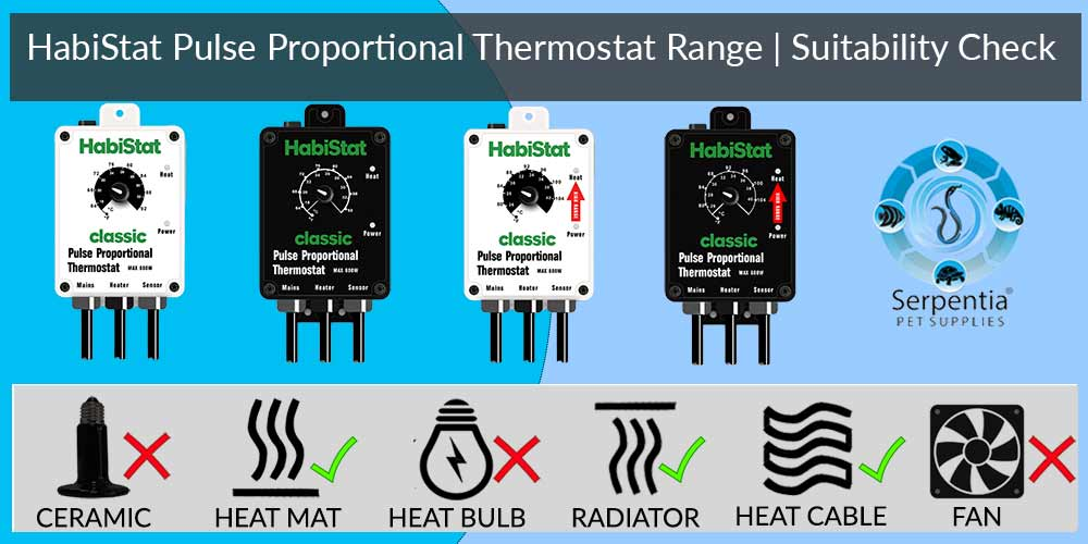 Habistat Pulse Proportional Thermostat   Reptile Thermostats   Black and White   Standard and High Range