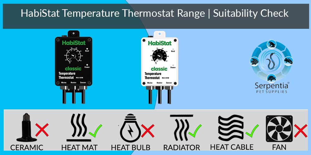 Habistat Temperature Thermostat   Reptile Thermostats   Black and White